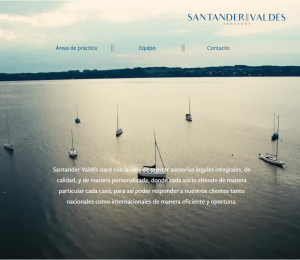 Santander Valdés Website Screenshot: Landing page