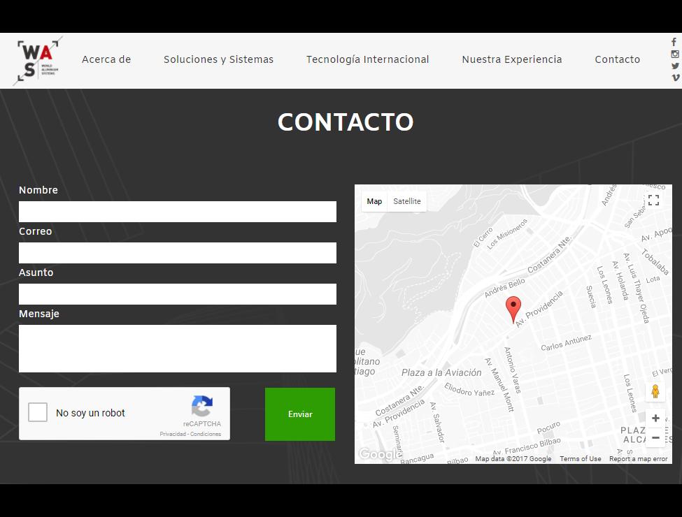 WAS Screenshot: Contact form