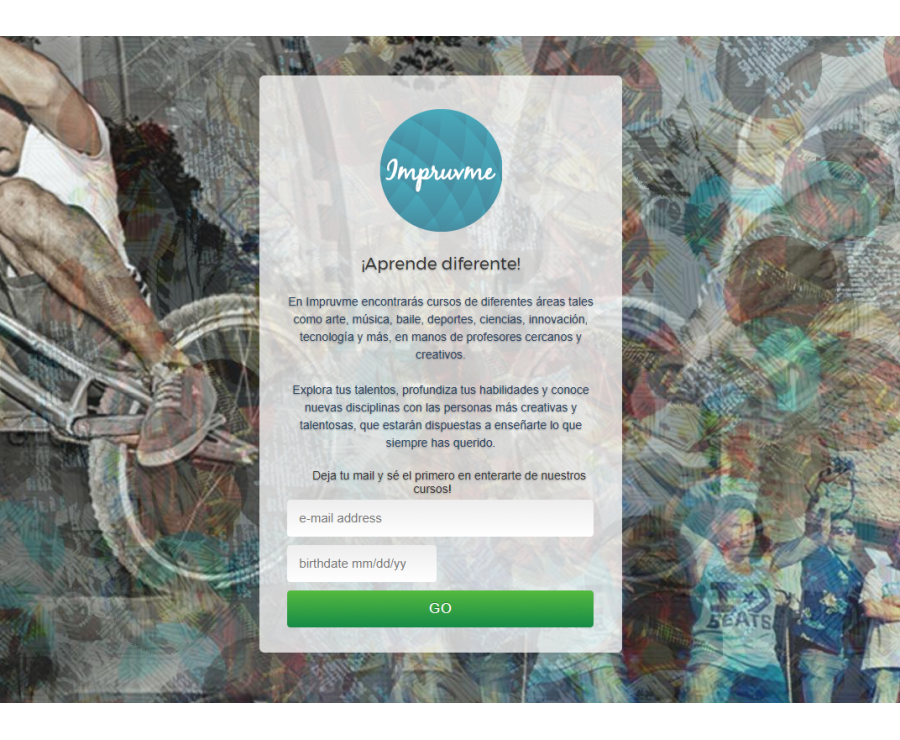 Impruvme: early landing page register