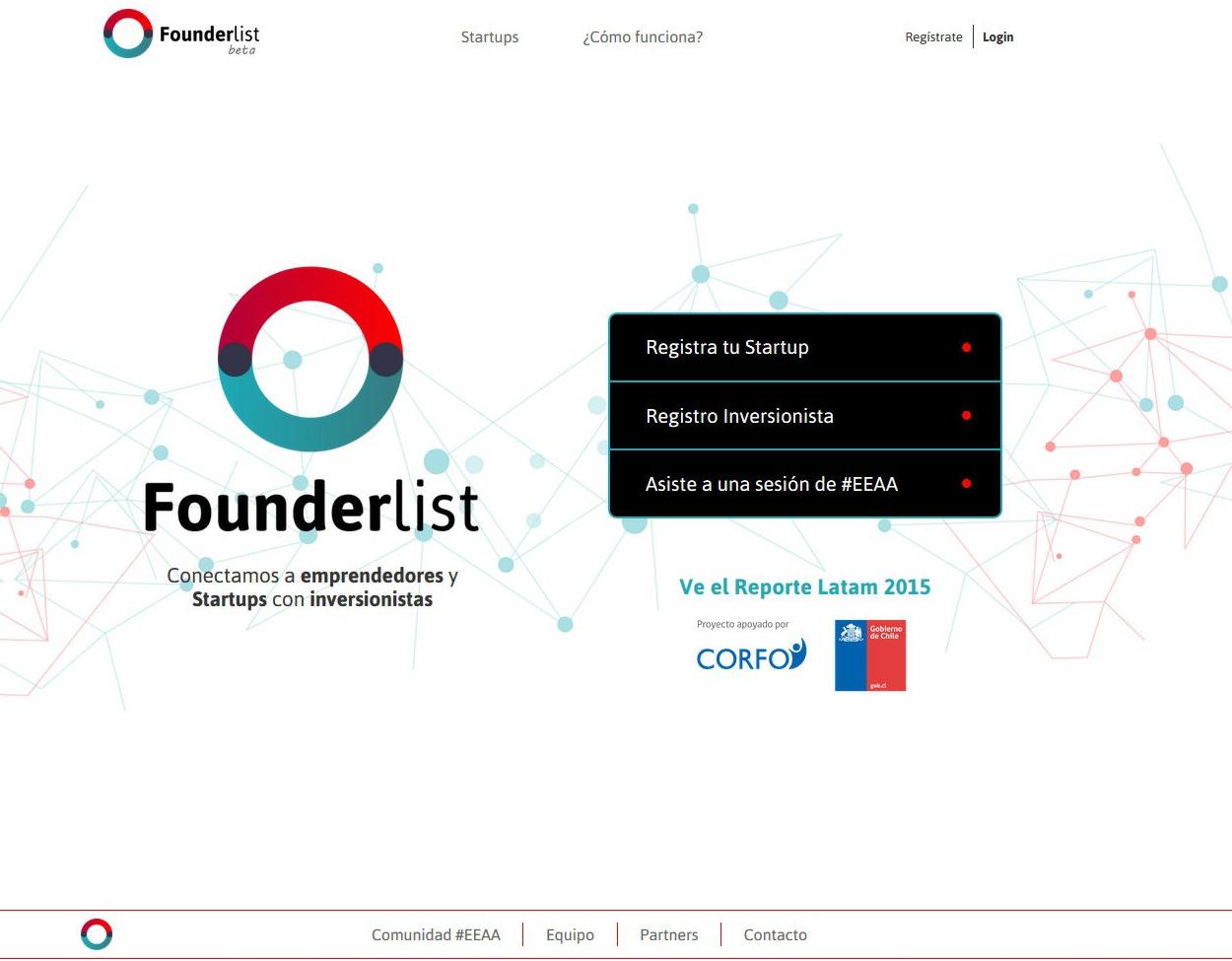 Founderlist App Screenshot: Landing section