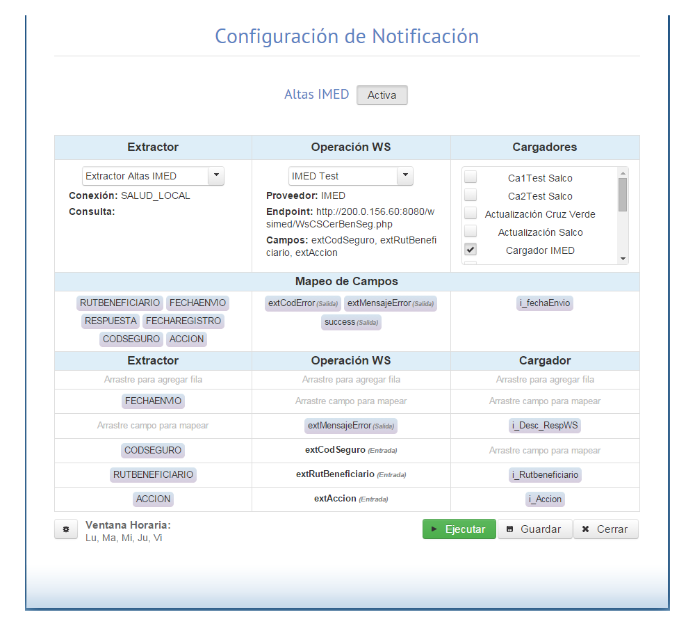 NAB Screenshot: Notification configuration screen