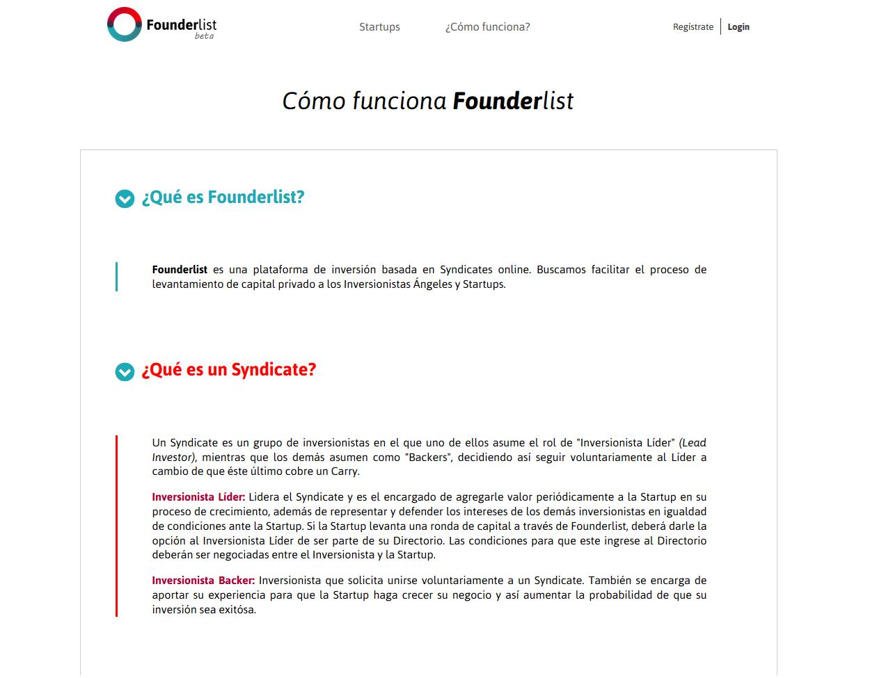Founderlist App Screenshot: How it works screen