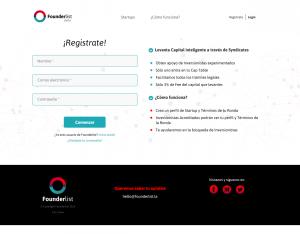 Founderlist App Screenshot: Sign up screen