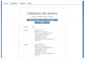 Codigo de Comercio Screenshot: Validating input file to process