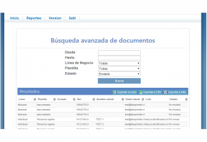 Codigo de Comercio Screenshot: Sent email search