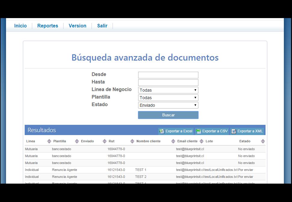 Codigo de Comercio Screenshot: Sent email search