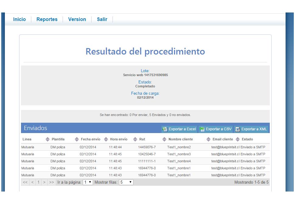 Codigo de Comercio Screenshot: Procedure results