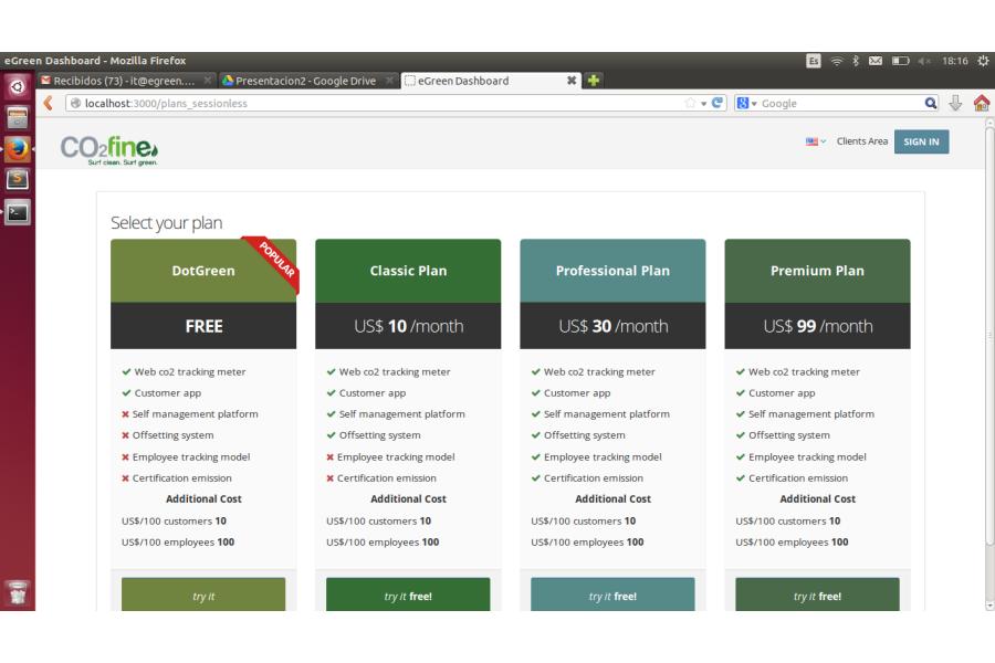 eGreen: Clients area web app screenshot