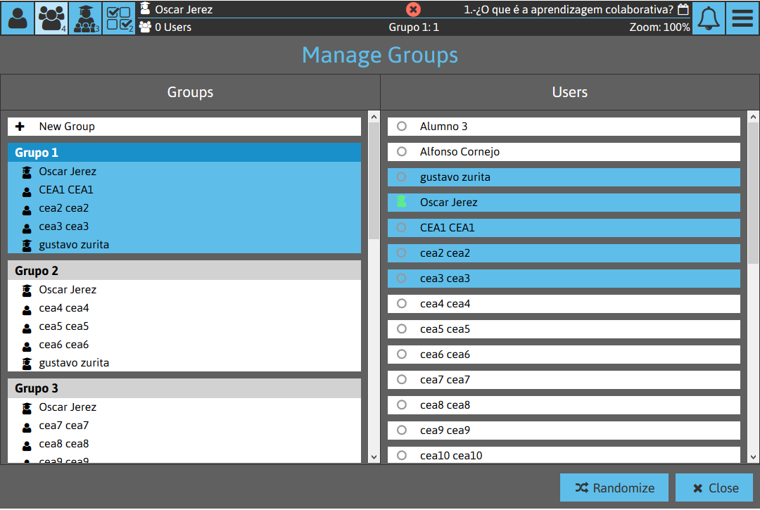 Sketchpad Screenshot: Groups Managment