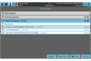 Sketchpad Screenshot: Subject and Activity selection