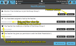 Sketchpad User Manual: Notifications panel
