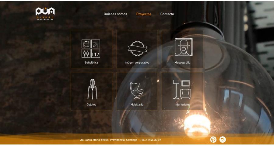 PUA Website Screenshot: Project category browser