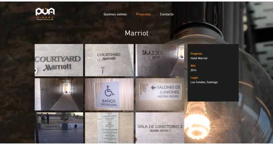 PUA Website Screenshot: Project showcase