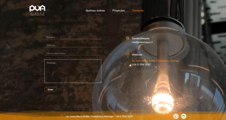 PUA Website Screenshot: Contact form