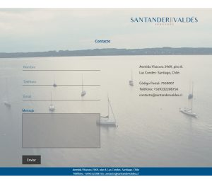 Santander Valdés Website Screenshot: Contact form