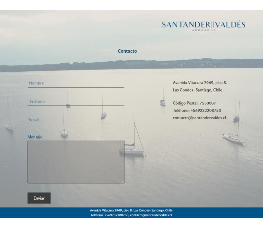 Santander Valdés Website Screenshot: Contact form