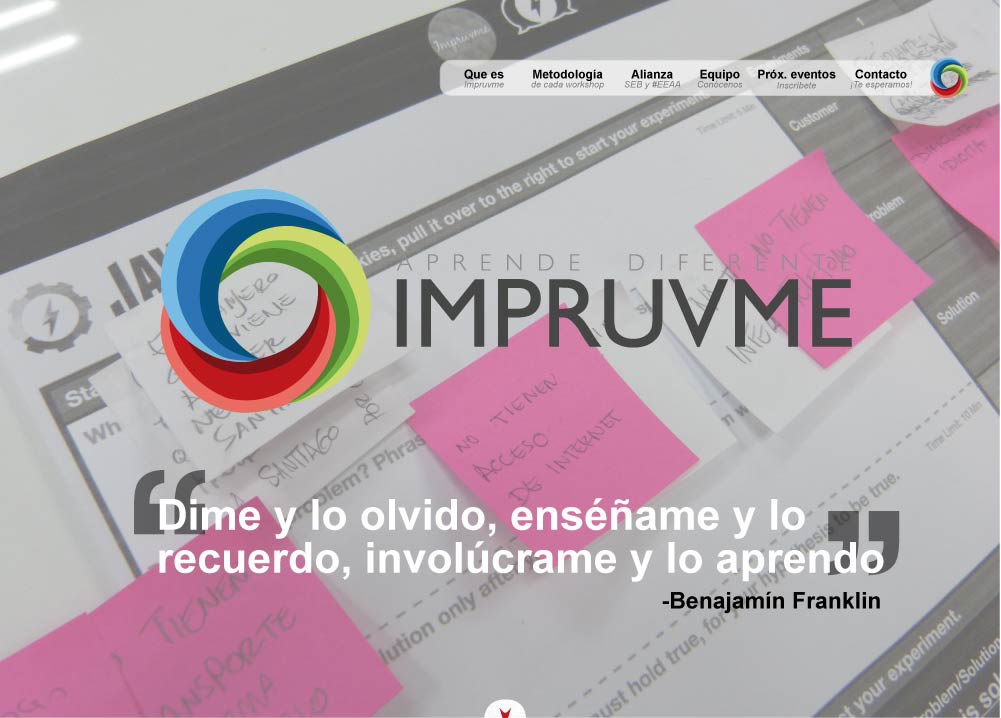 Impruvme: Website Screenshot landing section
