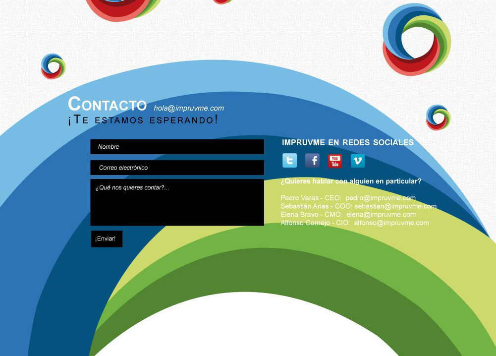 Impruvme: Website Screenshot contact form