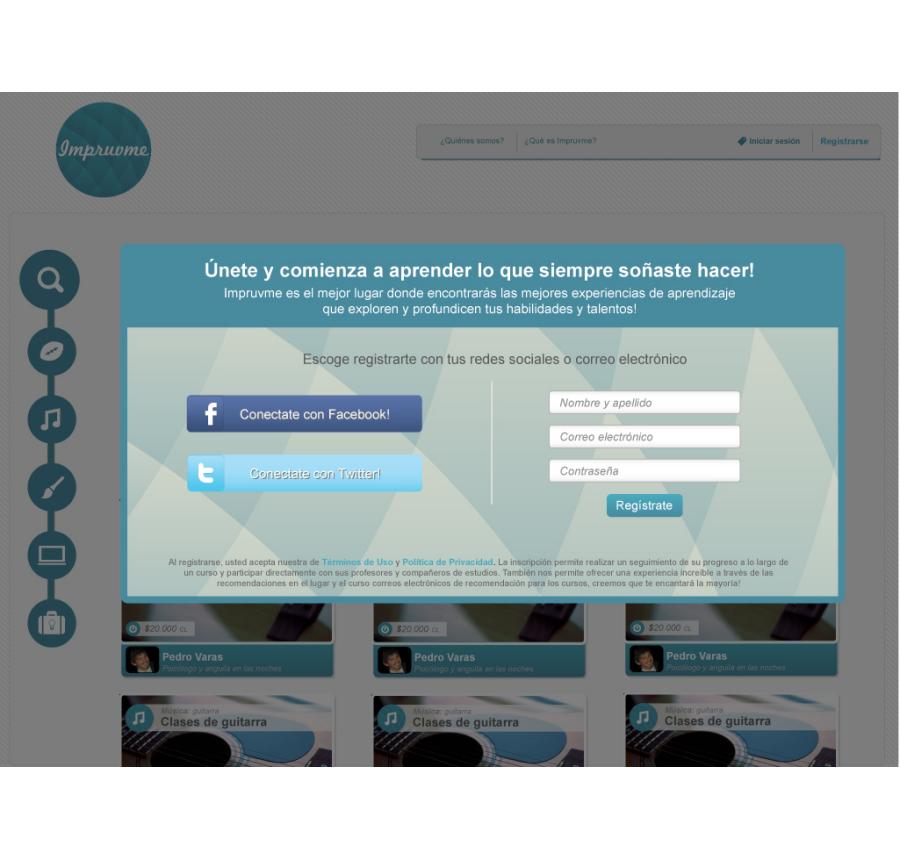 Impruvme Website sign up design