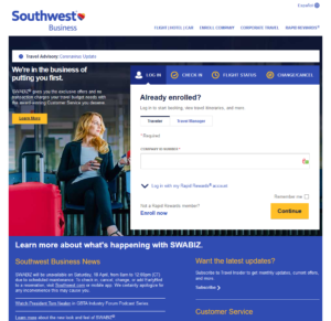 Southwest Business Landing Page
