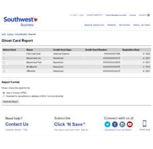 Southwest Business Ghost Card Report