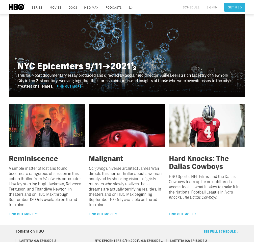 HBO.com home page